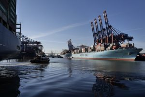 A container ship in the port at Hamburg