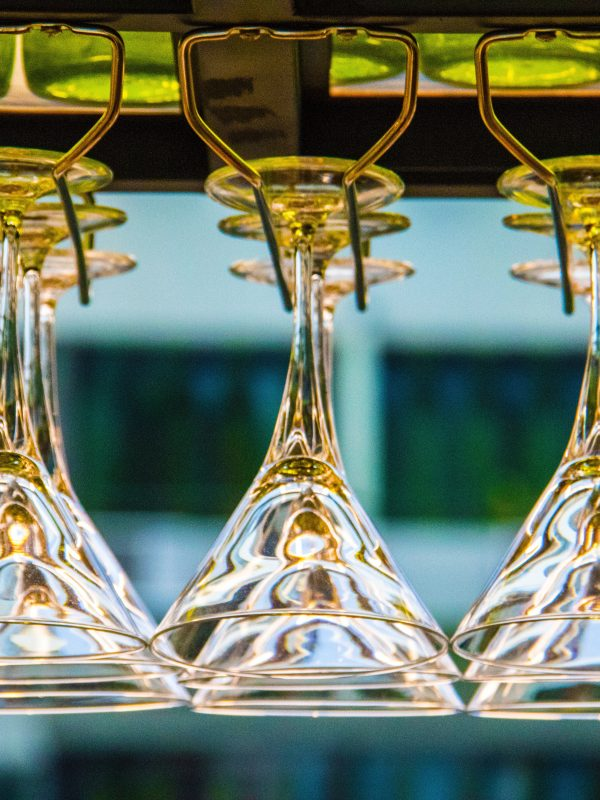 Martini glasses hanging upsidedown