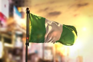 Nigerian flag waving in breeze