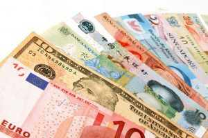 Major currencies laid out together