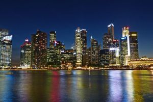 singapore financial district at night