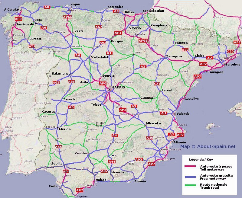 Spain - map of motorways