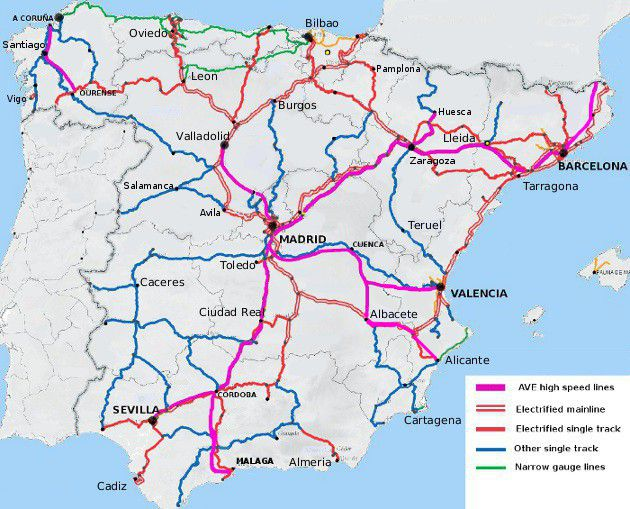 railway map of Spain